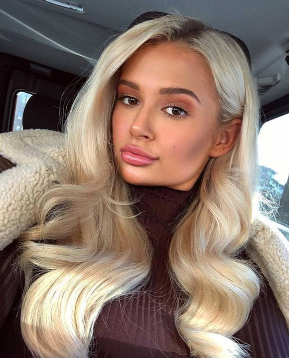 Ombre Blonde// Human Hair/ Lace Front Wigs// Blonde//Straight// Long Hair// Brazilian Remy// Wig// Glueless Lacewig//Ready to Ship//NWT - Goddess Beauty Royal Wigs