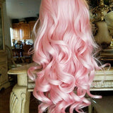 Pink Curly Wavy Lace Front Wig - Goddess Beauty Royal Wigs