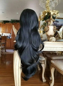 Black Straight Bodywave Lace Front Wig - Goddess Beauty Royal Wigs