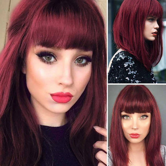 Shoulder Length Dark Red Wigs for Women Bob Wig Bangs Straight Wigs Short Hair Costume,Wine Red - Goddess Beauty Royal Wigs