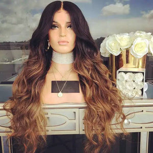 Balayage Ombre Human Hair Lace Front Wigs Medium Brown Roots to Golden Brown with Dark Blonde  Wavy Brazilian Remy Wig Glueless Lacewig - Goddess Beauty Royal Wigs
