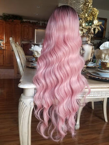 Ombre Black Pink Lace Front Wig - Goddess Beauty Royal Wigs