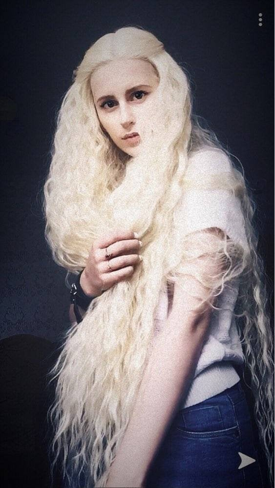 Bleach Blonde// Curly Lace Front Wig//Super Long Wig//Blonde//Beautiful - Goddess Beauty Royal Wigs