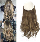 Ombre Hair// Extension// Bayalage Brown Blonde// Long// Natural Wavy// Halo Flip in - Goddess Beauty Royal Wigs