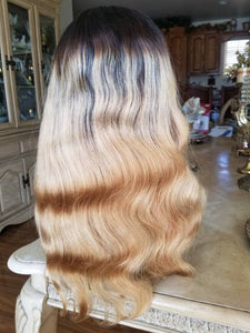 Ombre Blonde//Curly// Human Hair/ Lace Front Wigs// Beautiful// Curly// Brazilian Remy//Wig//Glueless// Lacewig//Wavy//Natural - Goddess Beauty Royal Wigs
