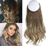 Ombre Hair// Extension// Bayalage Brown Ash Blonde// Long// Natural Wavy// Halo Flip in - Goddess Beauty Royal Wigs