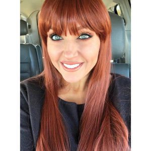Copper Red// Wigs for Women//Wig//Bangs// Straight Wigs//Long Hair// Costume//Auburn Red - Goddess Beauty Royal Wigs