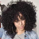 Black/ Kinky Curly Wig/Wi Exquisite Black Short Kinky Curly/ Synthetic Afro/ with Bangs for Black Women Heat Resistant Hair - Goddess Beauty Royal Wigs