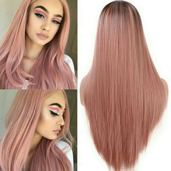 Ombre Pink Full Wig - Goddess Beauty Royal Wigs