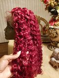 Red//Curly// Lace Front Wig//Beautiful//Wig - Goddess Beauty Royal Wigs