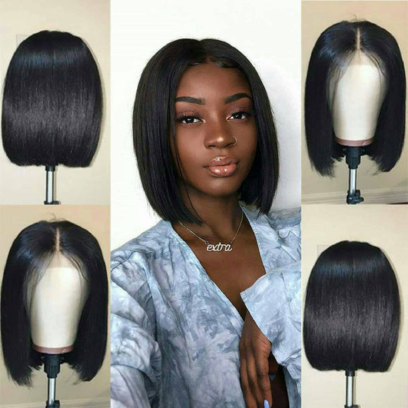 Human Hair Wig//Pre Plucked Hairline// Brazilian//Straight Lace Front Wig//Bob//Short 8-10 inches. - Goddess Beauty Royal Wigs