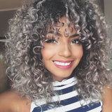 Salt and Pepper Gray/ Kinky Curly Wig/Wi Exquisite Black Short Kinky Curly/ Synthetic Afro/ with Bangs for Black Women Heat Resistant Hair - Goddess Beauty Royal Wigs
