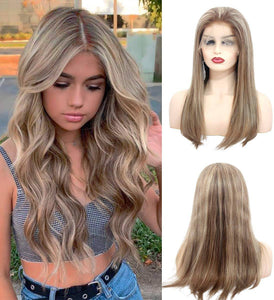 Ombre Brown Blonde//Straight// Human Hair/ Lace Front Wigs// Beautiful// Beautifu// Brazilian Remy//Wig//Glueless// Lacewig//Blonde//Natural - Goddess Beauty Royal Wigs