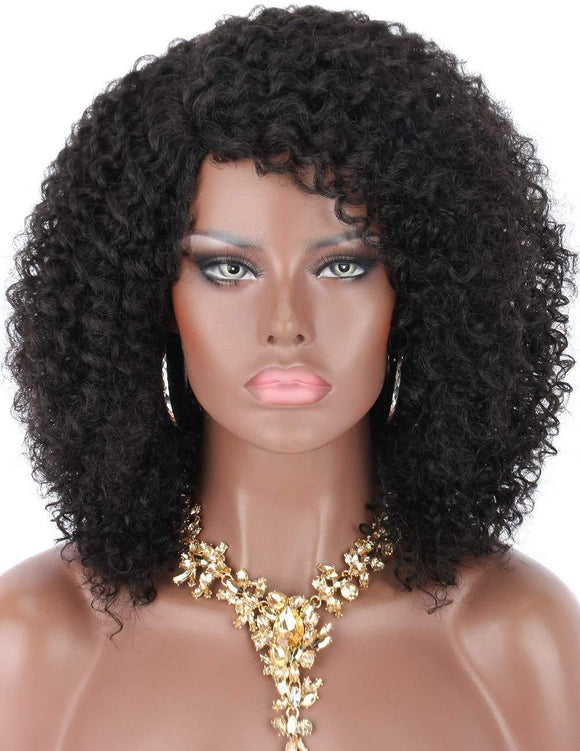 Black Kinky Curly Wig - Goddess Beauty Royal Wigs