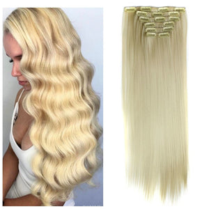 Blonde Beauty Full Head Clip In Extension #613!! - Goddess Beauty Royal Wigs