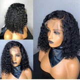 Black Curly// Human Hair/ Lace Front Wigs// Beautiful// Curly// Brazilian Remy//Wig//Glueless// Lacewig//Water Wave//Natural - Goddess Beauty Royal Wigs