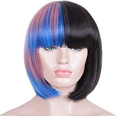 Yaki Wig//Bangs//Silky//Full Heat Resistant// Synthetic Wig for Women//3Tone Color//Half Black Pink and Blue//Bob Wigs with Bangs//Cute - Goddess Beauty Royal Wigs