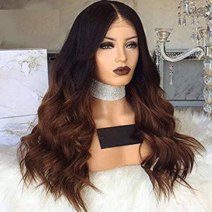 Ombre Black Brown Waves Lace Front Wig - Goddess Beauty Royal Wigs