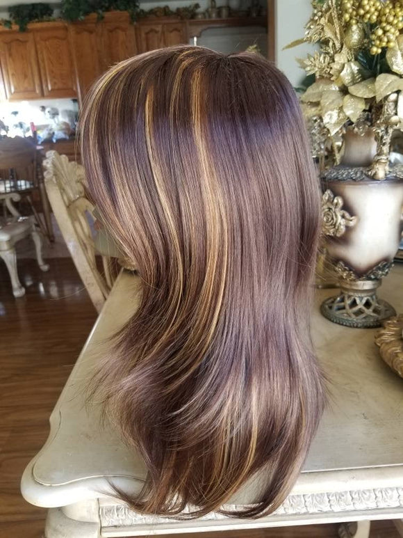 Brown Highlights// Beauty Wig//Straight Layered//Straight//Bangs - Goddess Beauty Royal Wigs
