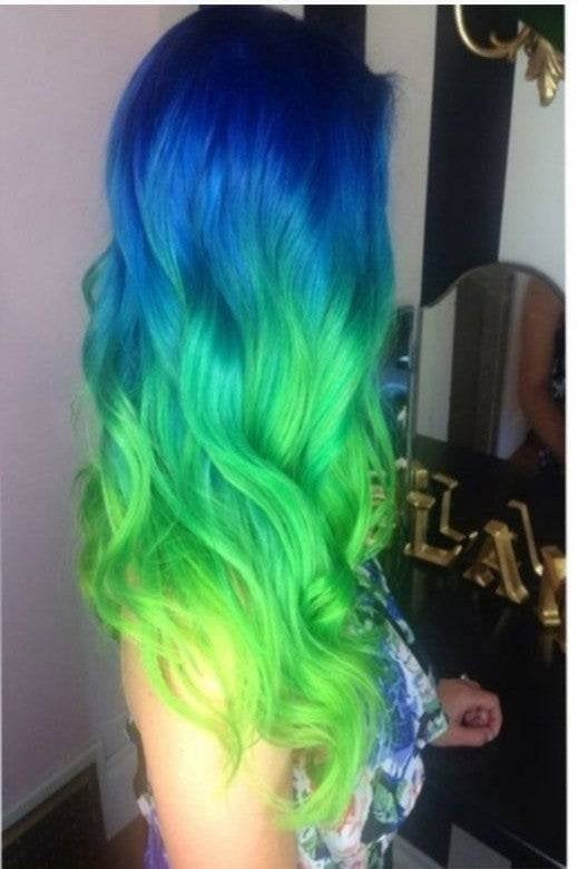 Ready to Ship// Blue Green Yellow Lace Front Wig - Goddess Beauty Royal Wigs