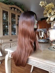 Ombre Brown Straight Wave Beauty Full Wig - Goddess Beauty Royal Wigs