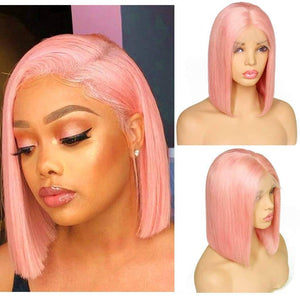 Human Hair Wig//Pre Plucked//Pink Hairline// Brazilian//Straight Lace Front Wig//Bob//Short 8-10 inches. - Goddess Beauty Royal Wigs