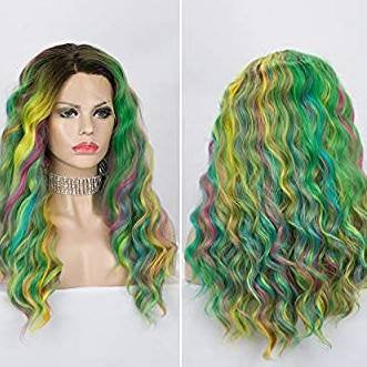Rainbow// Unicorn// Long Curly Wavy Human Hair Blend Hair Ombre Cosplay Wigs for Party,Multicolor - Goddess Beauty Royal Wigs