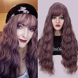 Purple Wavy Wig With Hair Bangs Silky Full Heat Resistant Synthetic Wig for Women - Natural Looking Machine Made 26 inch Hair Replacement - Goddess Beauty Royal Wigs