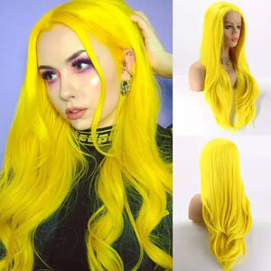 Yellow// Unicorn// Long Curly Wavy Human Hair Blend Hair Ombre Cosplay Wigs for Party,Multicolor - Goddess Beauty Royal Wigs