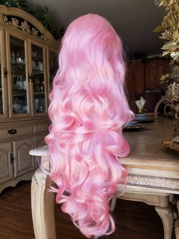 Pink Curly Wave Lace Front Wig - Goddess Beauty Royal Wigs