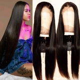 High Quality Pre Plucked Brazilian Virgin Remy Black Straight Lace Front Wig Human Hair - Goddess Beauty Royal Wigs