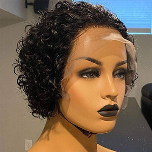 Pixie Cut Wig 13x4 Lace Front Wig Deep Curly Lace Front Wigs Human Hair Short Bob Wig Human Hair Lace Front Bob Cut Wig With Baby Hair 6 inc - Goddess Beauty Royal Wigs