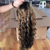 Ombre Brown Blonde//Curly// Human Hair/ Lace Front Wigs// Beautiful// Curly// Brazilian Remy//Wig//Glueless// Lacewig//Water Wave//Natural - Goddess Beauty Royal Wigs