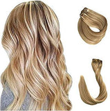 Clip in Human Hair Extensions 70g 7pcs Silky Straight Highlight Blonde Remy Human Hair Extension 15 Inch 27/613 Strawberry Blonde to Bleach - Goddess Beauty Royal Wigs