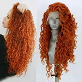 Copper Red Beauty Curly Waves Lace Front Wig - Goddess Beauty Royal Wigs