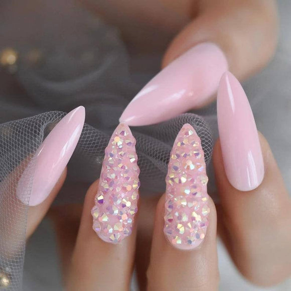 Pink Coffin Nails//Coffin Nails//Artificial Nails//Press on Nails//False Nails//Stilleto// Nails//Long Nails//Beautiful Nails//NailArt// - Goddess Beauty Royal Wigs