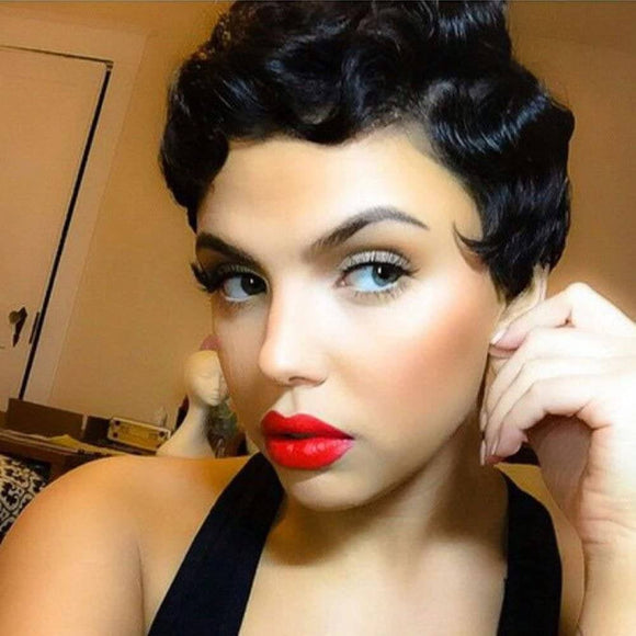 Black Finger Wave Beauty Full Wig - Goddess Beauty Royal Wigs