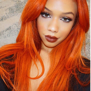 "24"" Autumn Twilight Long Straight Wavy Copper Red Lace Wig - Goddess Beauty Royal Wigs"