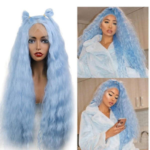 Sky Blue//Wavy// Lace Front Wig//Beautiful//Wig - Goddess Beauty Royal Wigs