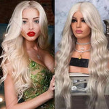 White Blonde//Icy// Lace Front Wig//Goddess//Wig//Ready to Ship//NWT//Human Hair//Synthetic Wig//Natural// Wavy//Stunning Wig//Beautiful// - Goddess Beauty Royal Wigs