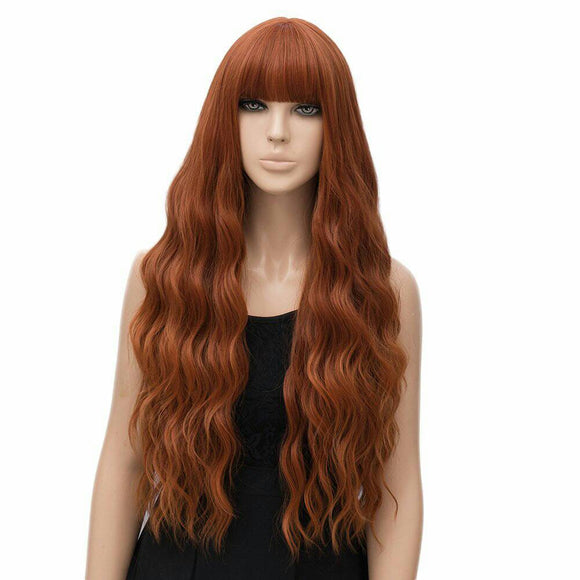 Copper Red// Wigs for Women//Wig//Bangs// Wavy Wigs//Long Hair// Costume//Auburn Red - Goddess Beauty Royal Wigs