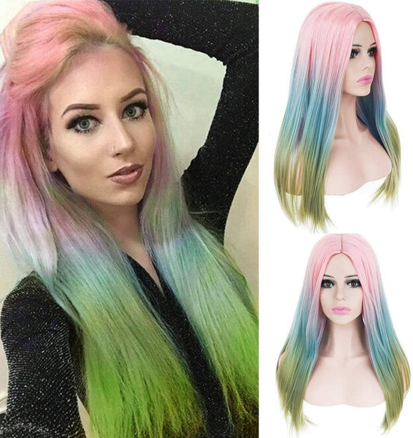 Rainbow Straight Beauty Full Wig - Goddess Beauty Royal Wigs