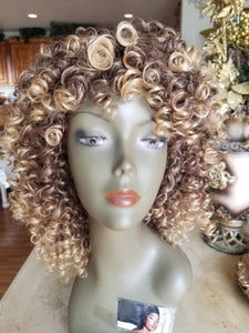 Blonde Brown Mixed// Kinky Curly Wig// Exquisite Black Short Kinky Curly/ Synthetic Afro/ with Bangs - Goddess Beauty Royal Wigs