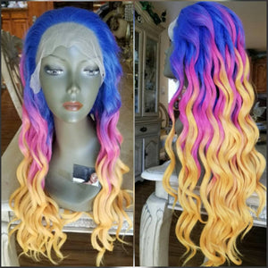 Ready to Ship//Pink//Purple//Yellow//Orange Beauty//Waves// Lace Front Wig - Goddess Beauty Royal Wigs