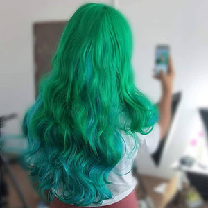 Dark Green Turquoise Mix Wavy Beauty Full Wig - Goddess Beauty Royal Wigs