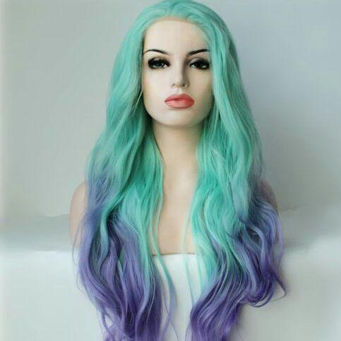 Green Purple Lace Front Wig - Goddess Beauty Royal Wigs