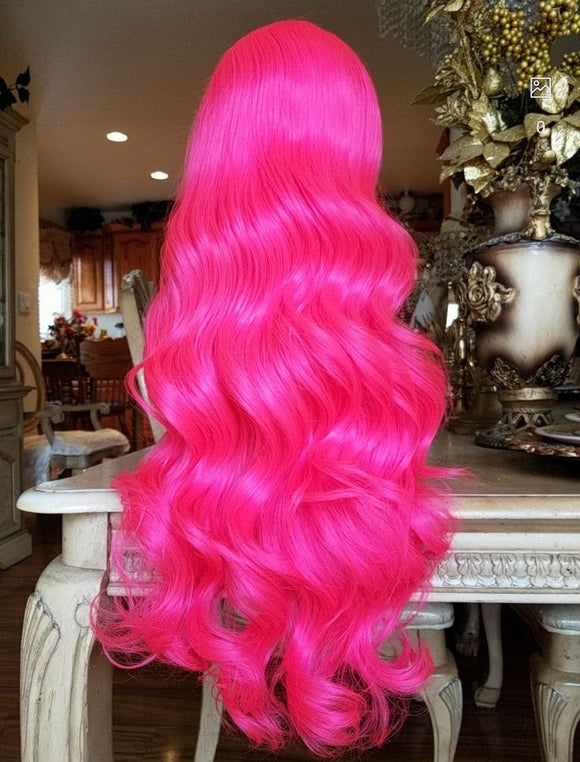 Hot Pink Beauty Wavy  Lace Front Wig - Goddess Beauty Royal Wigs