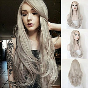 White Gray Beauty Lace Front Wig - Goddess Beauty Royal Wigs