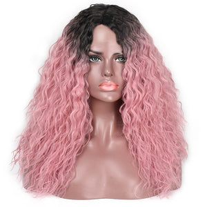 Curly Ombre Pink Synthetic Lace Front Wig 18 inches - Goddess Beauty Royal Wigs