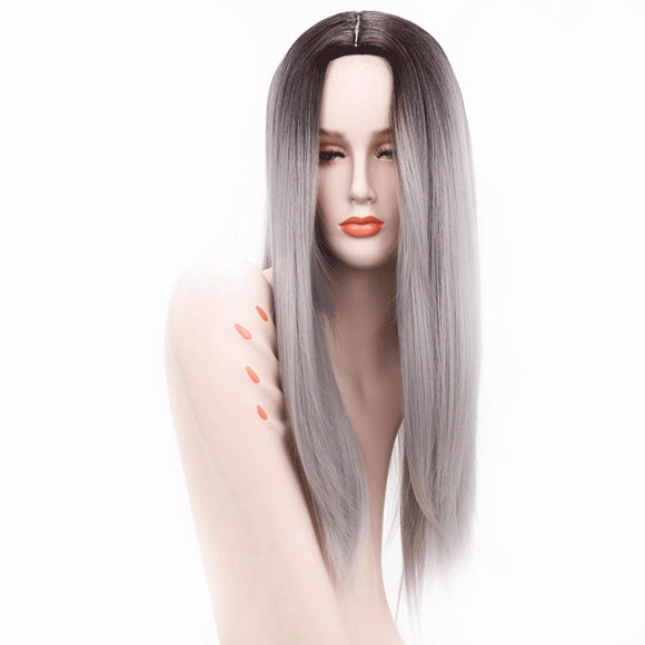Ombre Silver Grey / Blonde Long Straight Heat Resistant Synthetic Hair Wig For Women, Cosplay Or Party Hairpiece 26inches - Goddess Beauty Royal Wigs